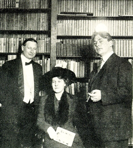 "Ellis Parker Butler, Reina Marquis (holding a copy of ""Danny's Own Story"") and Don Marquis."