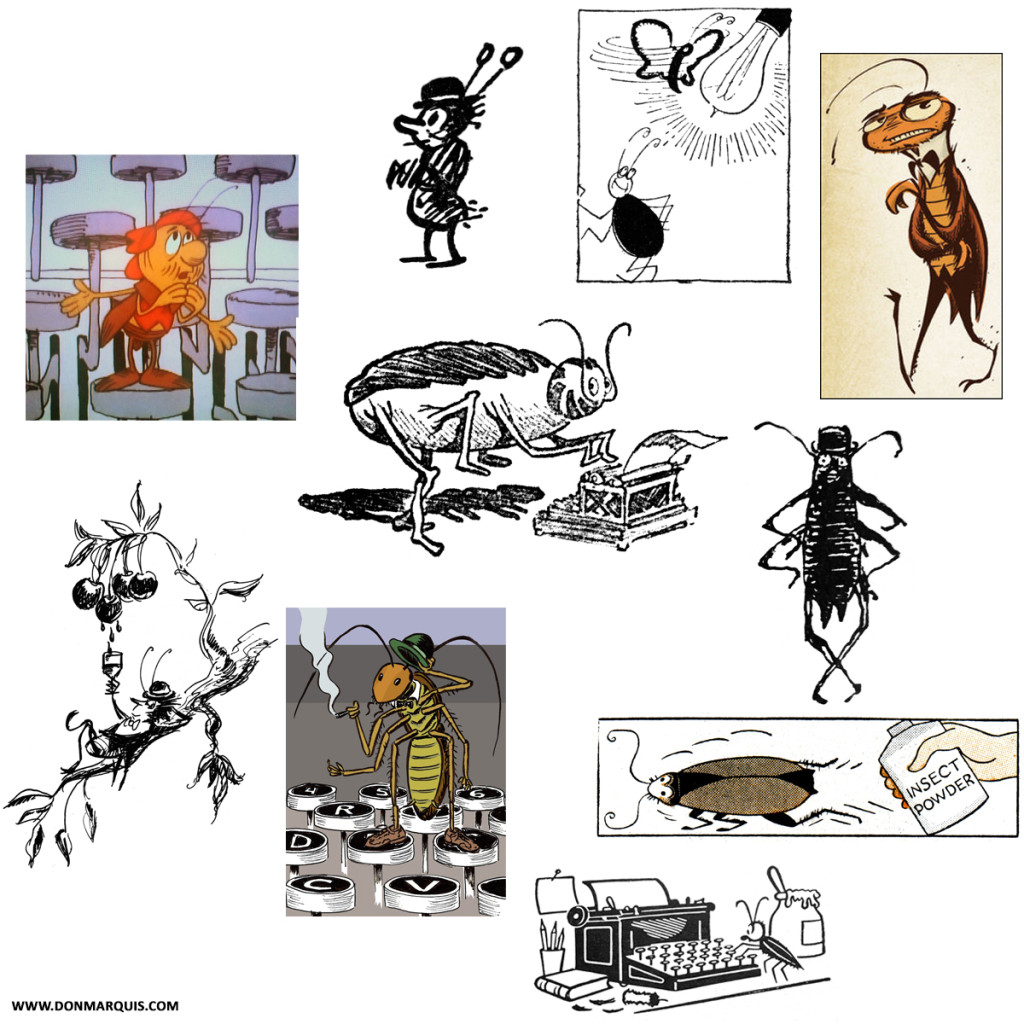 Archy the cockroach, as seen by 10 illustrators. This image is from www.DonMarquis.com.